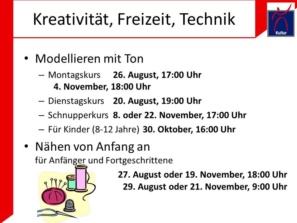 Kreativität, Freizeit, Technik Modellieren mit Ton – Montagskurs26.