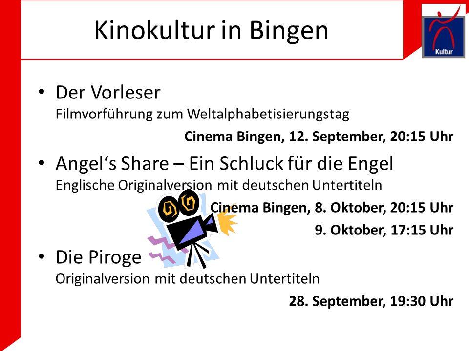 Kinokultur in Bingen Der Vorleser Filmvorführung zum Weltalphabetisierungstag Cinema Bingen, 12.