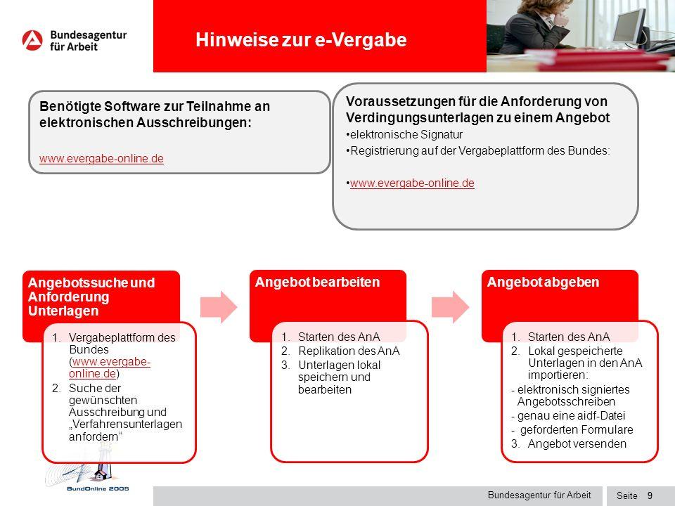 Seite8 auf der Internetseite der Bundesagentur für Arbeit www.arbeitsagentur.de als zusätzlicher Service auf der Homepage des Bundesverwaltungsamtes u