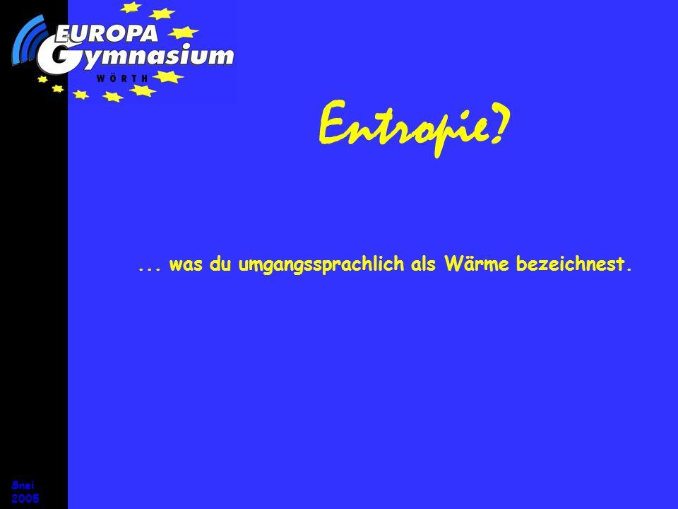 Snei 2005 Entropie und Energie Die Entropie ist ein Energieträger