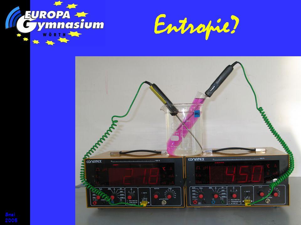 Snei 2005 Entropie? Vorgänge, bei denen Entropie erzeugt wird, sind irreversibel.