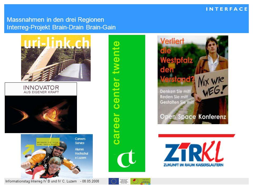 Informationstag Interreg IV B und IV C, Luzern - 08.05.2008 Massnahmen in den drei Regionen Interreg-Projekt Brain-Drain Brain-Gain Careers Service Alumni Hochschul e Luzern