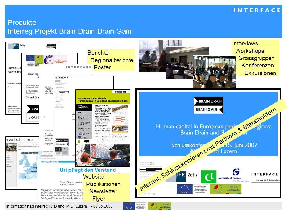Informationstag Interreg IV B und IV C, Luzern - 08.05.2008 Interviews Workshops Grossgruppen Konferenzen Exkursionen Berichte Regionalberichte Poster Produkte Interreg-Projekt Brain-Drain Brain-Gain Internat.