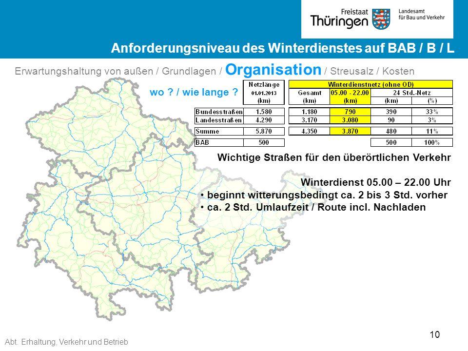 Abt. Erhaltung, Verkehr und Betrieb 10 Ergebnisse ZEB 2012 Landesstraßen ge Ergebnisse ZEB 2012 Landesstraßen Wichtige Straßen für den überörtlichen V
