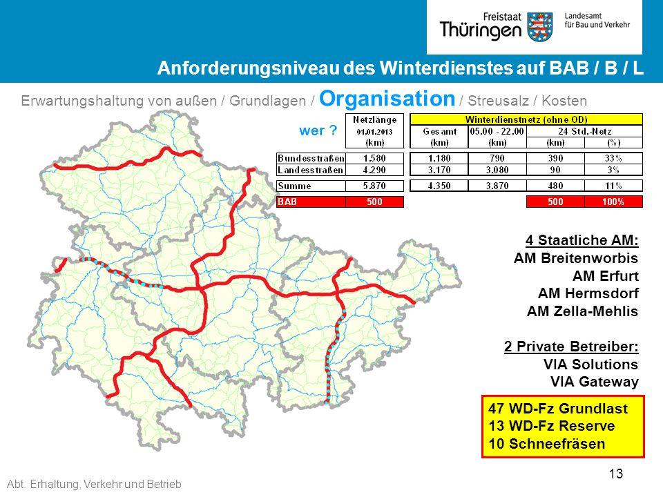 Abt. Erhaltung, Verkehr und Betrieb 13 Ergebnisse ZEB 2012 Landesstraßen ge Ergebnisse ZEB 2012 Landesstraßen wer ? 4 Staatliche AM: AM Breitenworbis