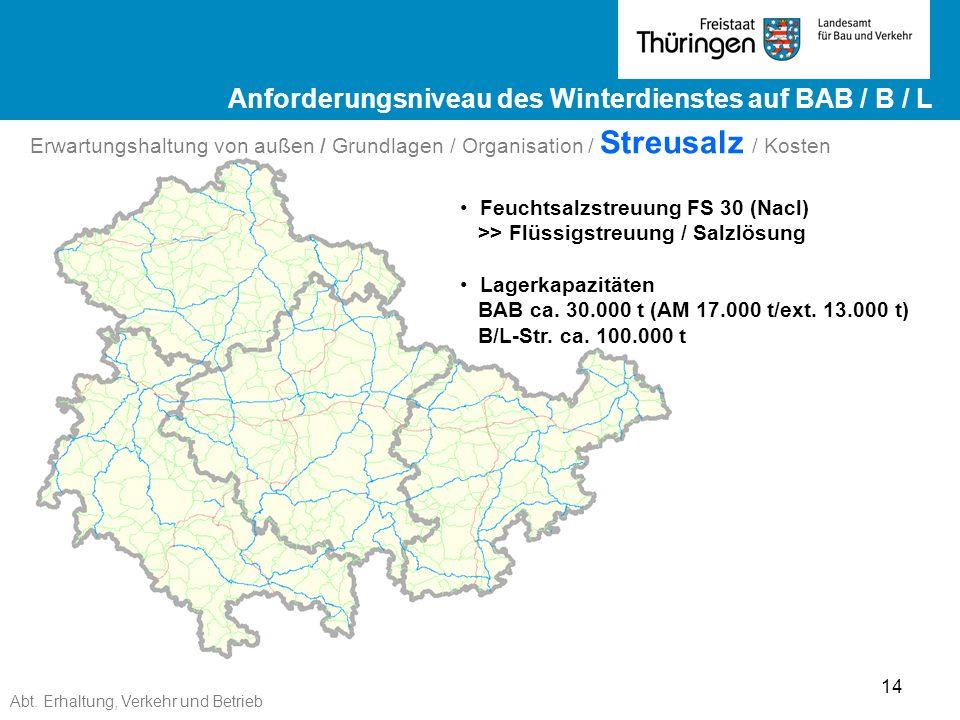 Abt. Erhaltung, Verkehr und Betrieb 14 Ergebnisse ZEB 2012 Landesstraßen ge Ergebnisse ZEB 2012 Landesstraßen Erwartungshaltung von außen / Grundlagen