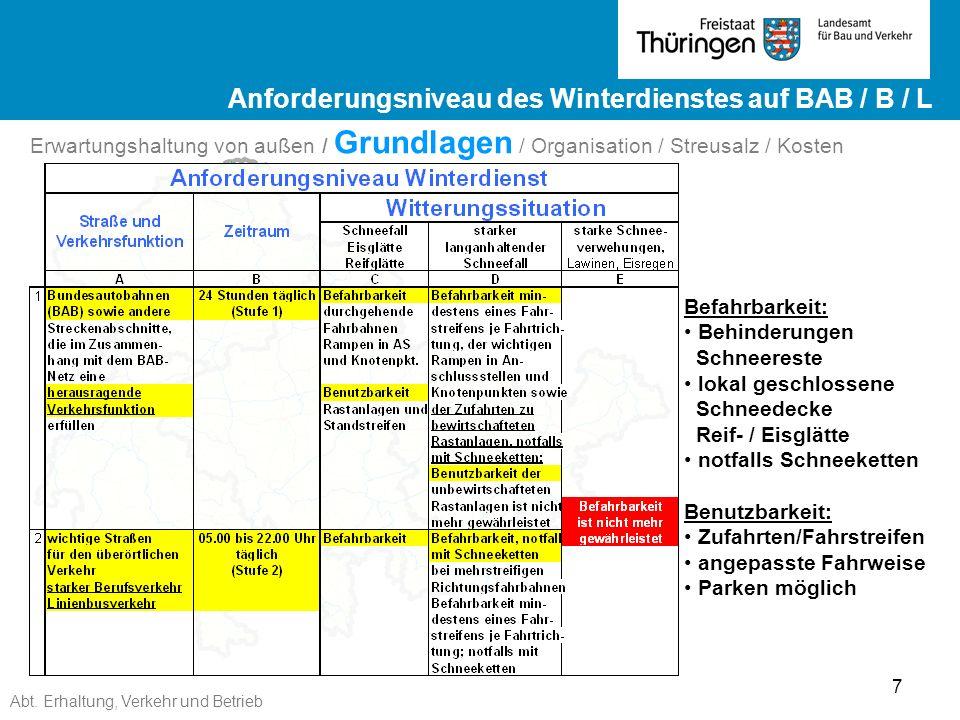 Abt. Erhaltung, Verkehr und Betrieb 7 Ergebnisse ZEB 2012 Landesstraßen ge Ergebnisse ZEB 2012 Landesstraßen Befahrbarkeit: Behinderungen Schneereste