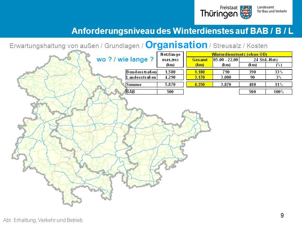 Abt. Erhaltung, Verkehr und Betrieb 9 Ergebnisse ZEB 2012 Landesstraßen ge Ergebnisse ZEB 2012 Landesstraßen Erwartungshaltung von außen / Grundlagen