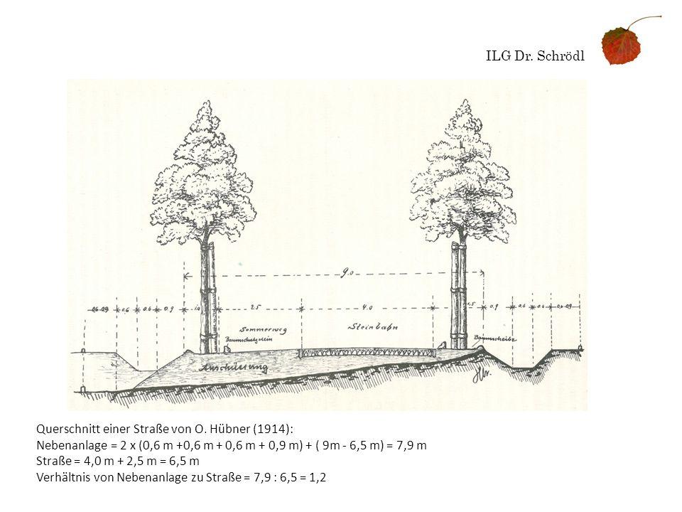 ILG Dr. Schrödl Querschnitt einer Straße von O. Hübner (1914): Nebenanlage = 2 x (0,6 m +0,6 m + 0,6 m + 0,9 m) + ( 9m - 6,5 m) = 7,9 m Straße = 4,0 m