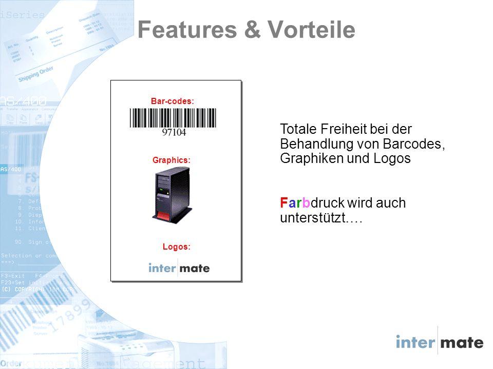 Totale Freiheit bei der Behandlung von Barcodes, Graphiken und Logos Farbdruck wird auch unterstützt….