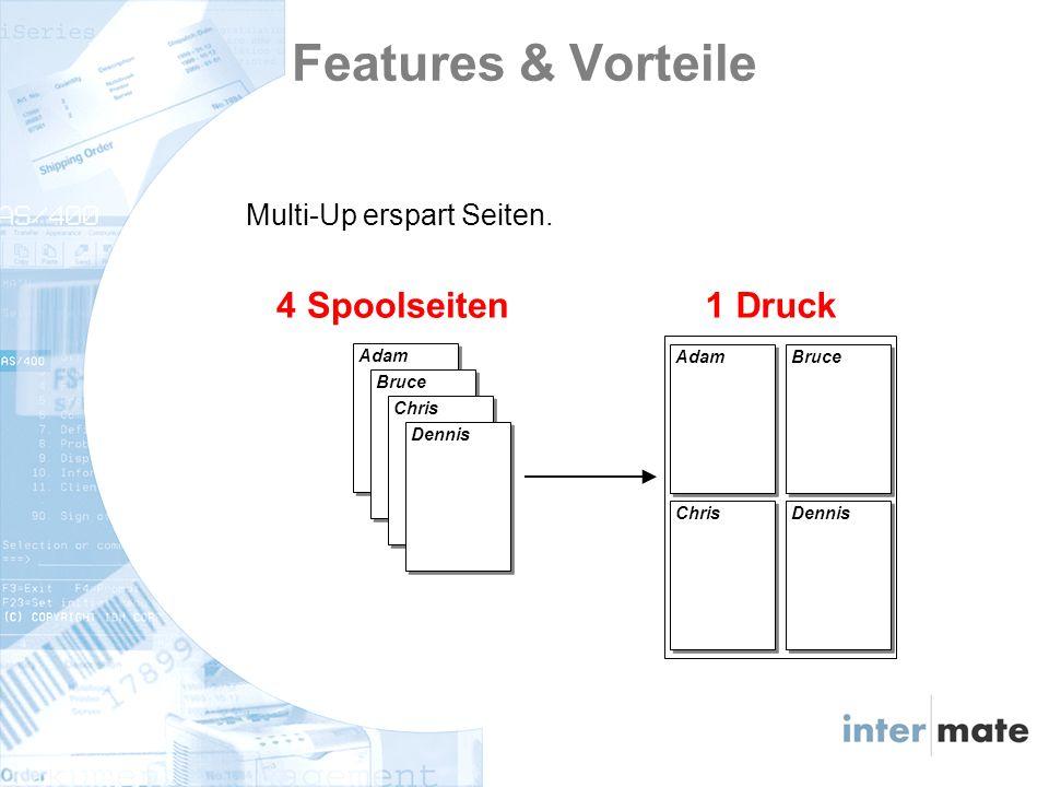 Multi-Up erspart Seiten.