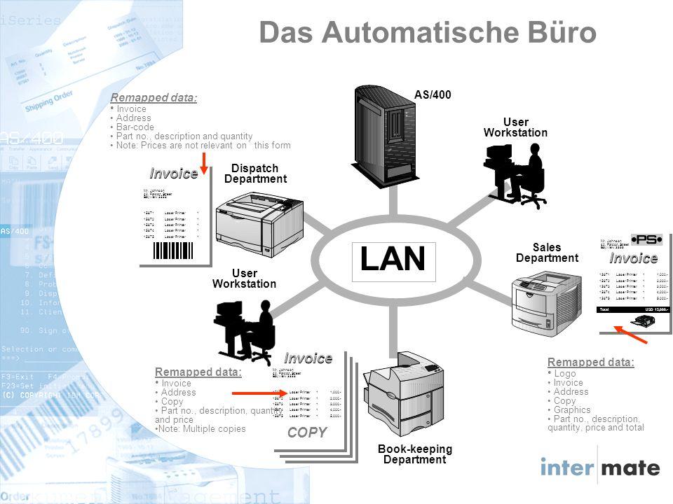 LAN AS/400 User Workstation User Workstation Book-keeping Department COPY Invoice 15871 Laser Printer 1 1,000.- 15872 Laser Printer 1 2,000.- 15873 Laser Printer 1 3,000.- 15874 Laser Printer 1 4,000.- 15875 Laser Printer 1 5,000.- Mr.