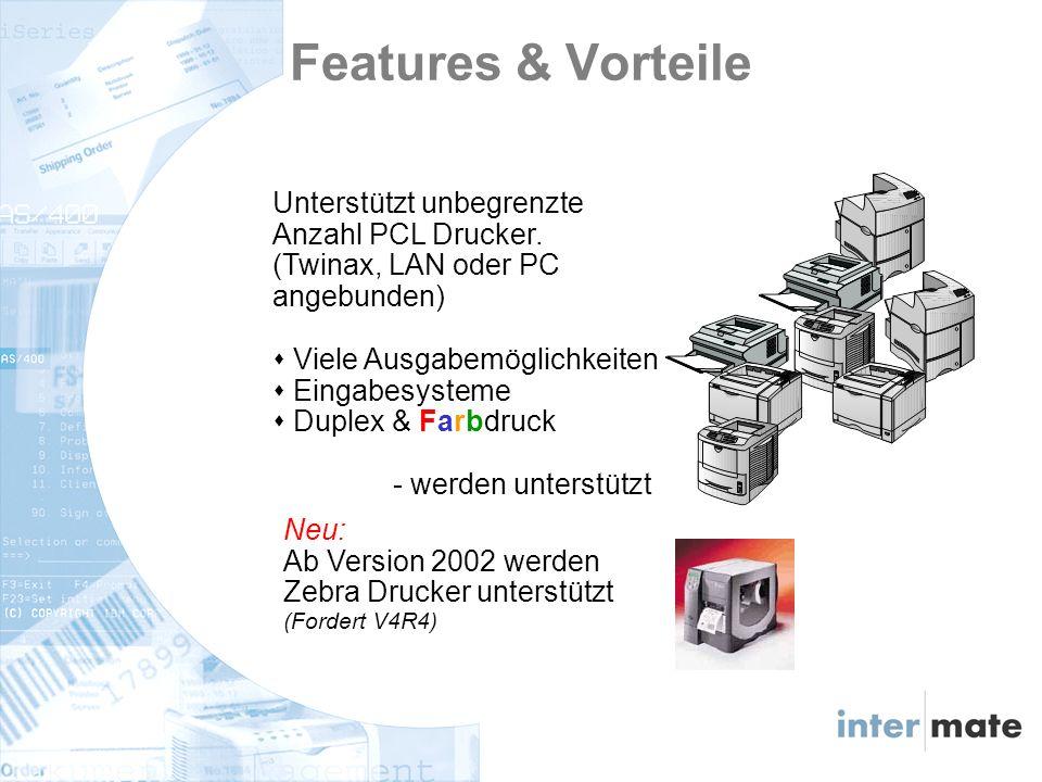 Unterstützt unbegrenzte Anzahl PCL Drucker.