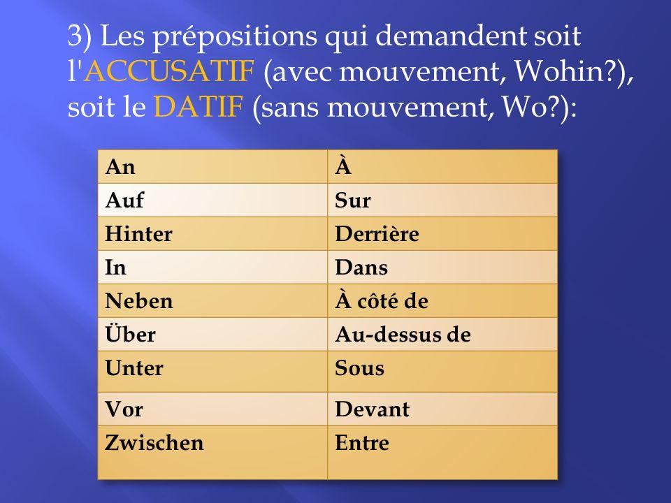 3) Les prépositions qui demandent soit l'ACCUSATIF (avec mouvement, Wohin?), soit le DATIF (sans mouvement, Wo?):