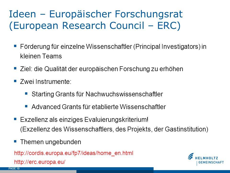 PAGE 10 Ideen – Europäischer Forschungsrat (European Research Council – ERC) Förderung für einzelne Wissenschaftler (Principal Investigators) in klein