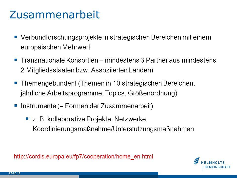 PAGE 13 Zusammenarbeit Verbundforschungsprojekte in strategischen Bereichen mit einem europäischen Mehrwert Transnationale Konsortien – mindestens 3 P