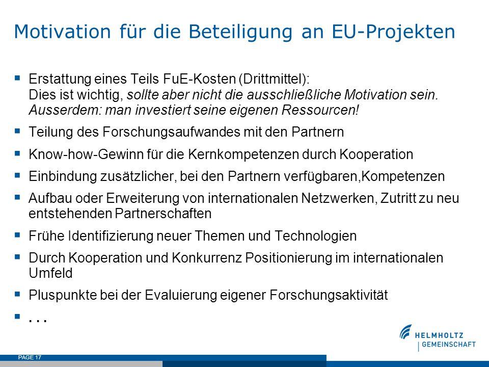 PAGE 17 Motivation für die Beteiligung an EU-Projekten Erstattung eines Teils FuE-Kosten (Drittmittel): Dies ist wichtig, sollte aber nicht die aussch