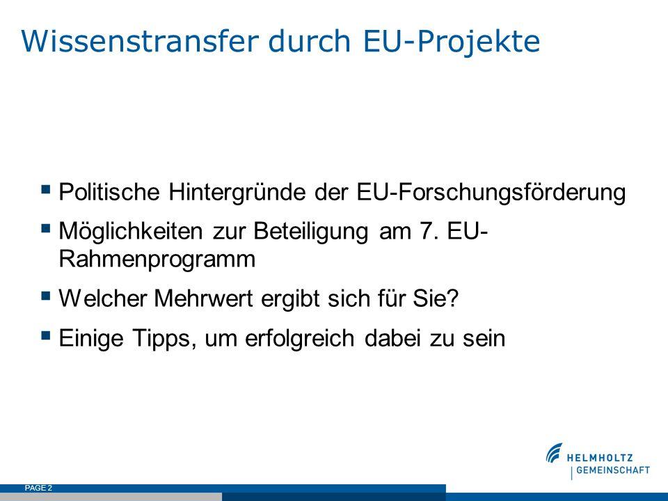 PAGE 2 Wissenstransfer durch EU-Projekte Politische Hintergründe der EU-Forschungsförderung Möglichkeiten zur Beteiligung am 7. EU- Rahmenprogramm Wel
