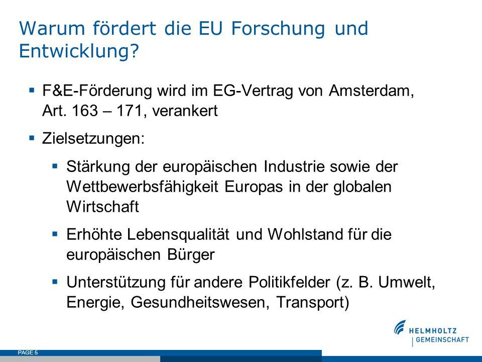 PAGE 5 Warum fördert die EU Forschung und Entwicklung? F&E-Förderung wird im EG-Vertrag von Amsterdam, Art. 163 – 171, verankert Zielsetzungen: Stärku