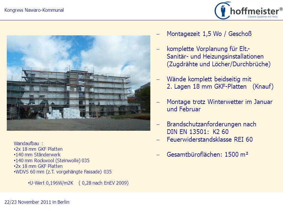 14 BAUnatour Wanderausstellung 2009-2011 Fachtagung 27. April 2010 in Göttingen Montagezeit 1,5 Wo / Geschoß komplette Vorplanung für Elt.- Sanitär- u