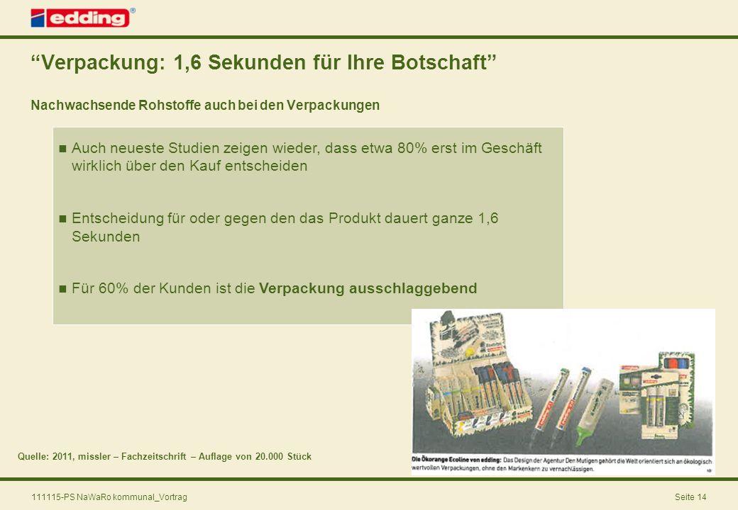 111115-PS NaWaRo kommunal_VortragSeite 14 Verpackung: 1,6 Sekunden für Ihre Botschaft Nachwachsende Rohstoffe auch bei den Verpackungen Quelle: 2011,