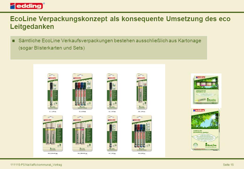 111115-PS NaWaRo kommunal_VortragSeite 15 EcoLine Verpackungskonzept als konsequente Umsetzung des eco Leitgedanken Sämtliche EcoLine Verkaufsverpacku