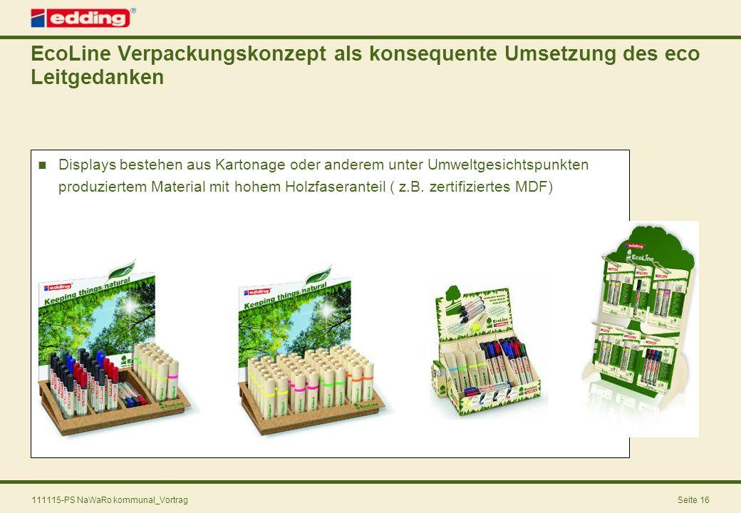 111115-PS NaWaRo kommunal_VortragSeite 16 Displays bestehen aus Kartonage oder anderem unter Umweltgesichtspunkten produziertem Material mit hohem Hol