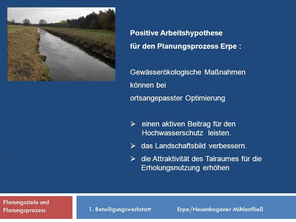 - Positive Arbeitshypothese für den Planungsprozess Erpe : Gewässerökologische Maßnahmen können bei ortsangepasster Optimierung einen aktiven Beitrag für den Hochwasserschutz leisten.