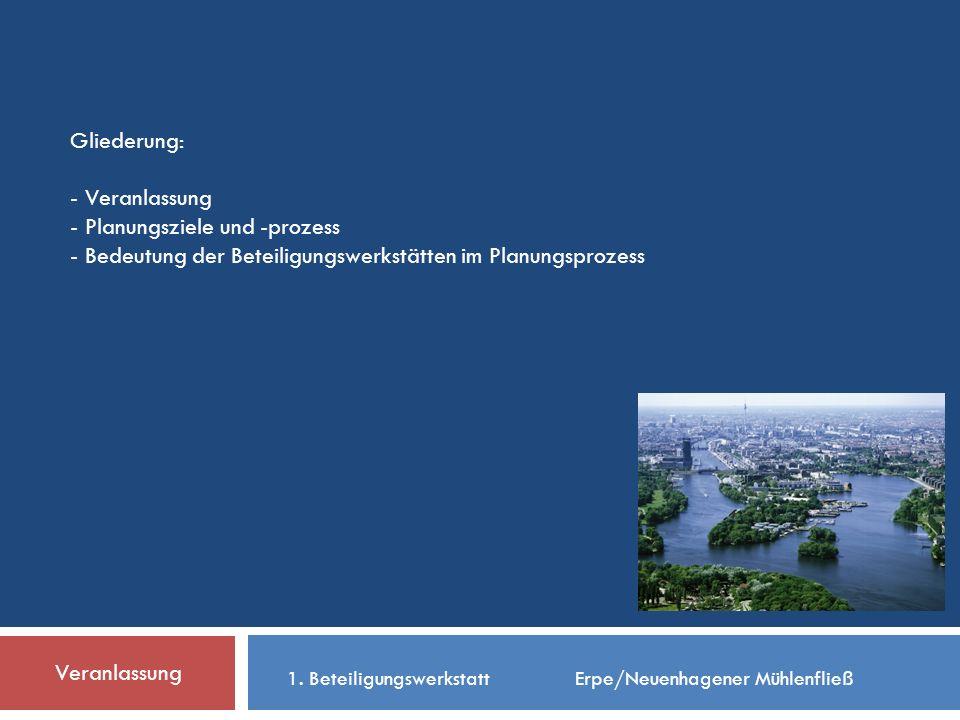 Gliederung: - Veranlassung - Planungsziele und -prozess - Bedeutung der Beteiligungswerkstätten im Planungsprozess Veranlassung 1.