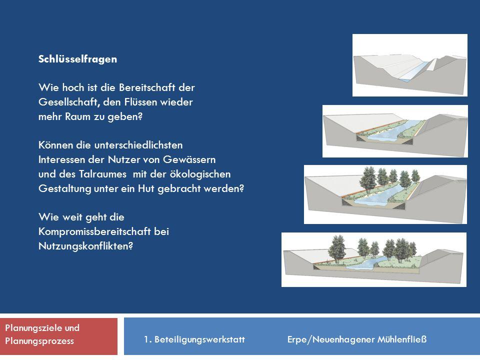 Planungsziele und Planungsprozess Schlüsselfragen Wie hoch ist die Bereitschaft der Gesellschaft, den Flüssen wieder mehr Raum zu geben.