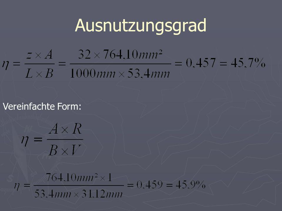 Ausnutzungsgrad Vereinfachte Form: