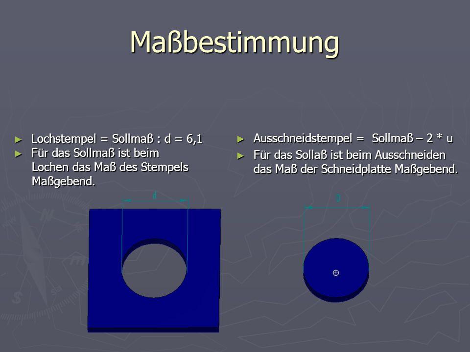 Maßbestimmung Lochstempel = Sollmaß : d = 6,1 Lochstempel = Sollmaß : d = 6,1 Für das Sollmaß ist beim Für das Sollmaß ist beim Lochen das Maß des Ste
