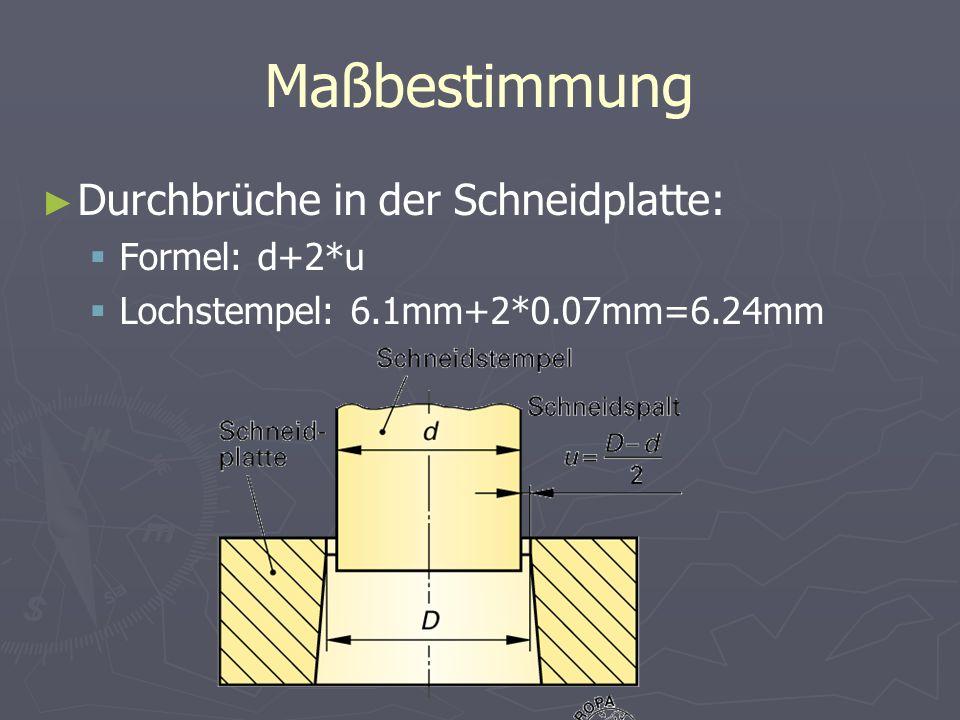 Maßbestimmung Durchbrüche in der Schneidplatte: Formel: d+2*u Lochstempel: 6.1mm+2*0.07mm=6.24mm