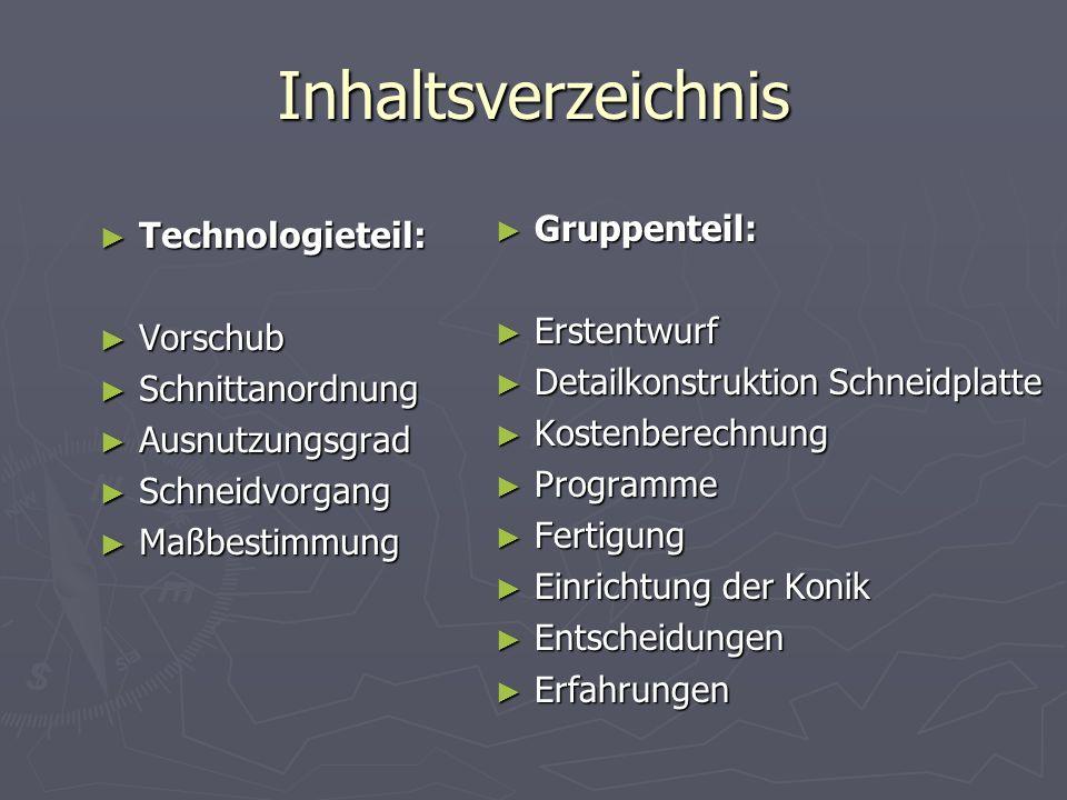 Inhaltsverzeichnis Technologieteil: Technologieteil: Vorschub Vorschub Schnittanordnung Schnittanordnung Ausnutzungsgrad Ausnutzungsgrad Schneidvorgan