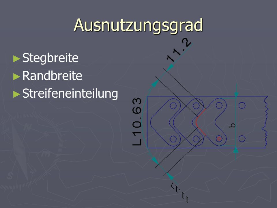 Ausnutzungsgrad Stegbreite Randbreite Streifeneinteilung
