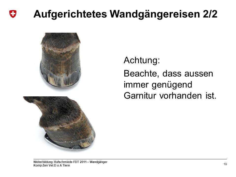 19 Weiterbildung Hufschmiede FDT 2011 – Wandgänger Komp Zen Vet D u A Tiere Aufgerichtetes Wandgängereisen 2/2 Achtung: Beachte, dass aussen immer genügend Garnitur vorhanden ist.