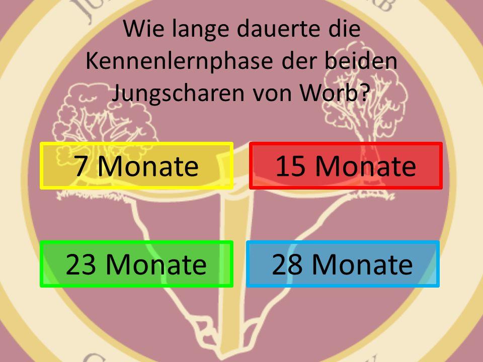 Wie lange dauerte die Kennenlernphase der beiden Jungscharen von Worb? 7 Monate 28 Monate 15 Monate 23 Monate