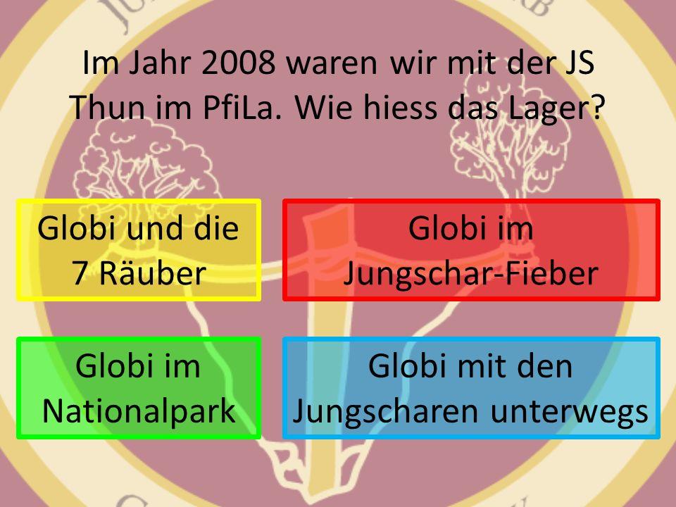 Im Jahr 2008 waren wir mit der JS Thun im PfiLa. Wie hiess das Lager? Globi und die 7 Räuber Globi mit den Jungscharen unterwegs Globi im Jungschar-Fi