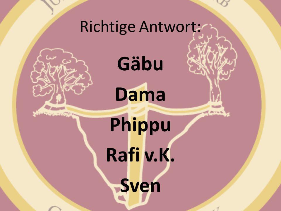 Richtige Antwort: Gäbu Dama Phippu Rafi v.K. Sven