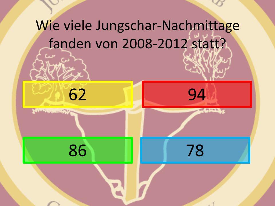 Wie viele Jungschar-Nachmittage fanden von 2008-2012 statt? 62 78 94 86