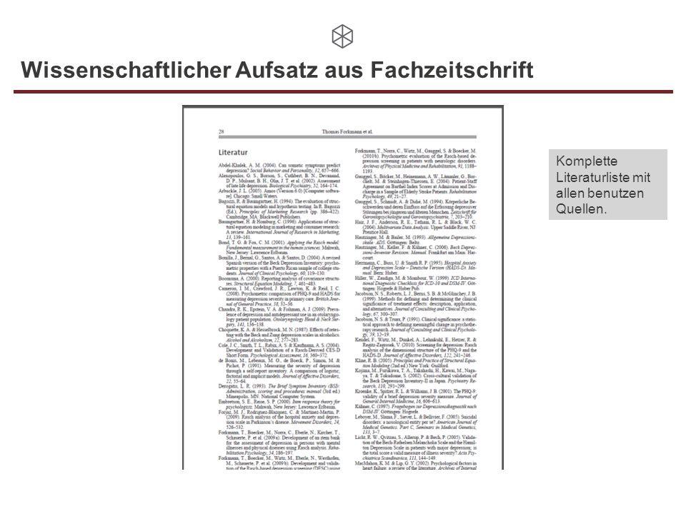 Wissenschaftlicher Aufsatz aus Fachzeitschrift Komplette Literaturliste mit allen benutzen Quellen.