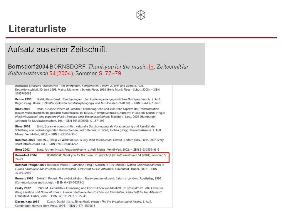 Literaturliste Aufsatz aus einer Zeitschrift: Bornsdorf 2004 BORNSDORF: Thank you for the music. In: Zeitschrift für Kulturaustausch 54 (2004), Sommer