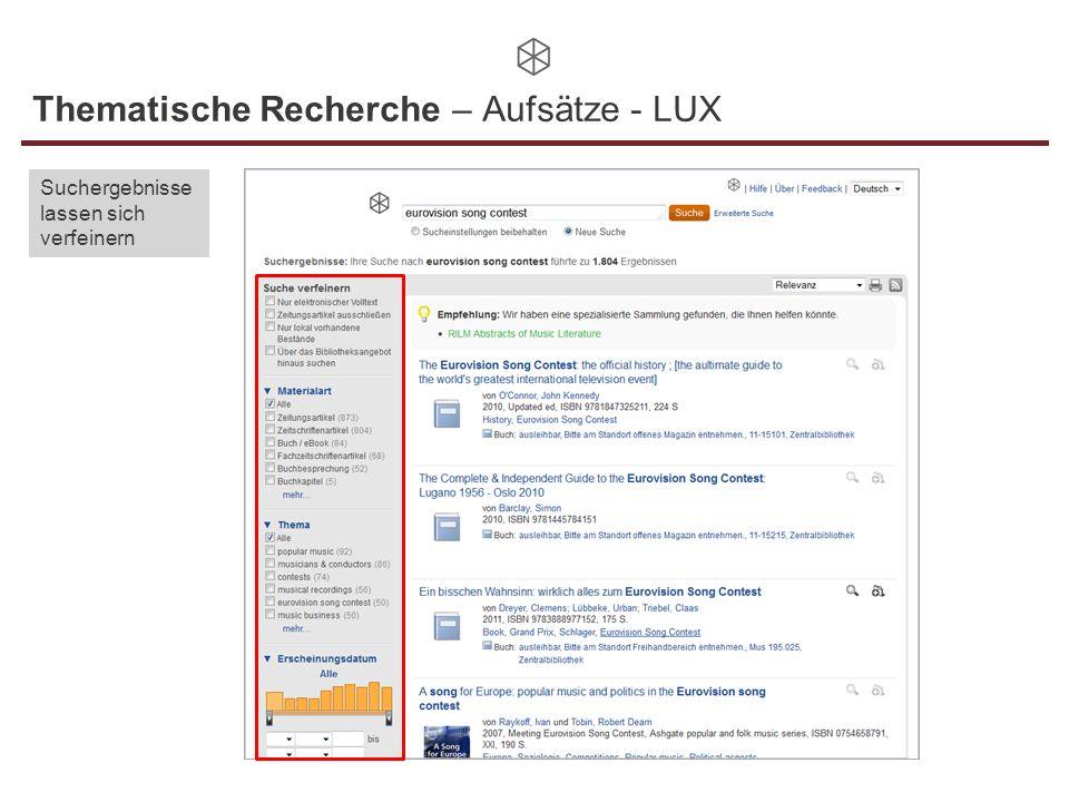 Thematische Recherche – Aufsätze - LUX Suchergebnisse lassen sich verfeinern