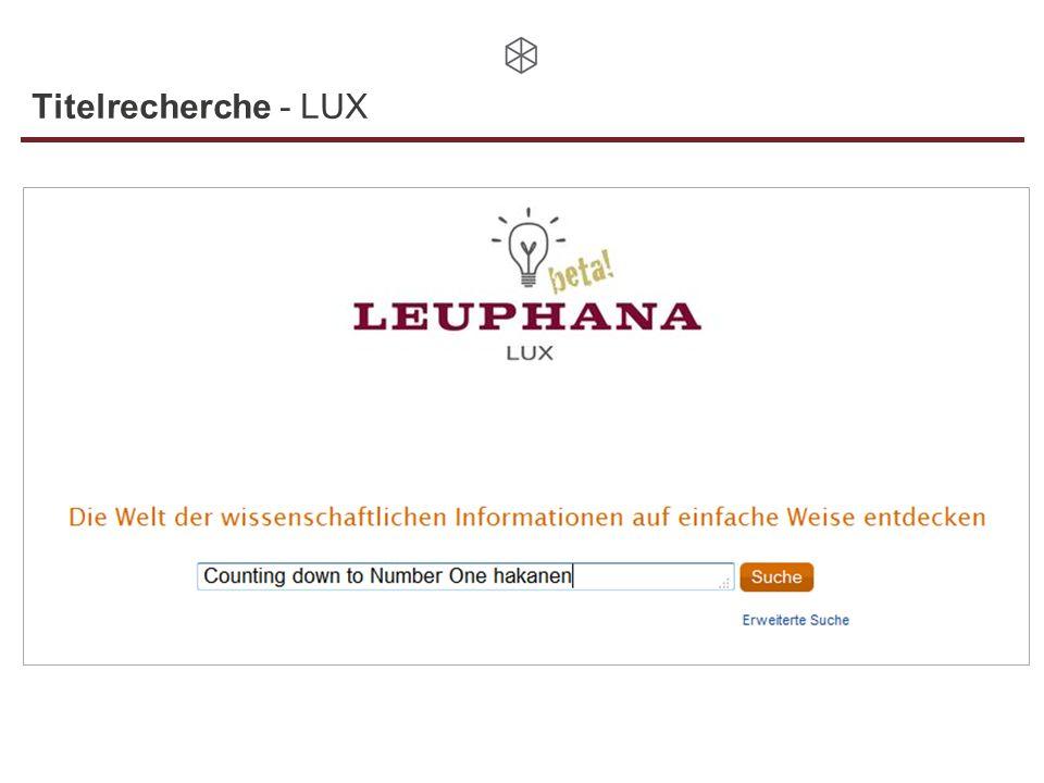 Titelrecherche - LUX