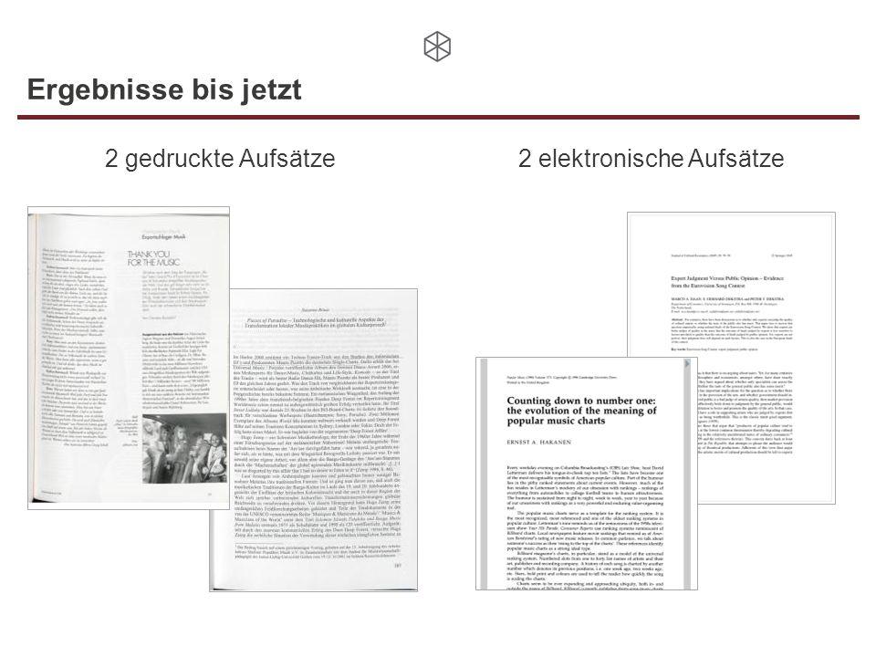 Ergebnisse bis jetzt 2 gedruckte Aufsätze 2 elektronische Aufsätze