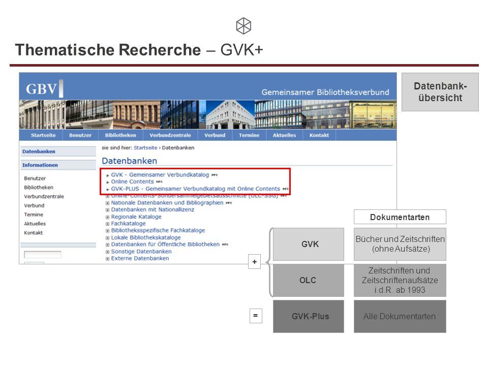 Thematische Recherche – GVK+ Datenbank- übersicht GVK GVK-Plus OLC Bücher und Zeitschriften (ohne Aufsätze) Dokumentarten Zeitschriften und Zeitschrif