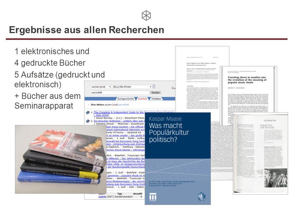 Ergebnisse aus allen Recherchen 1 elektronisches und 4 gedruckte Bücher 5 Aufsätze (gedruckt und elektronisch) + Bücher aus dem Seminarapparat