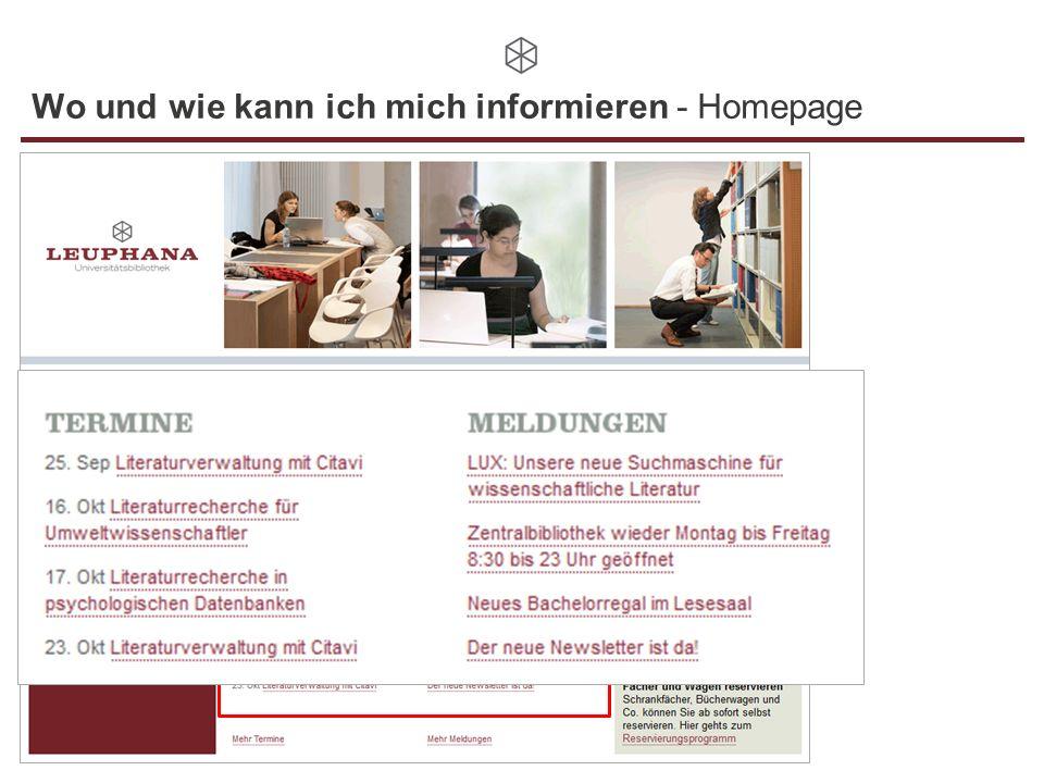 Wo und wie kann ich mich informieren - Homepage