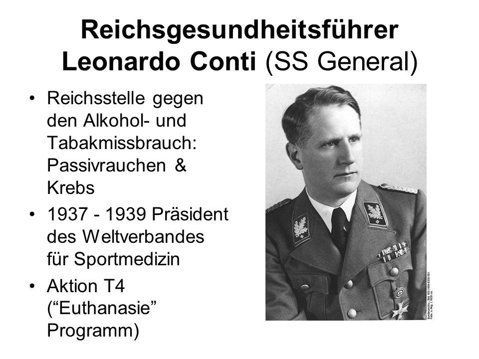 Reichsgesundheitsführer Leonardo Conti (SS General) Reichsstelle gegen den Alkohol- und Tabakmissbrauch: Passivrauchen & Krebs 1937 - 1939 Präsident d