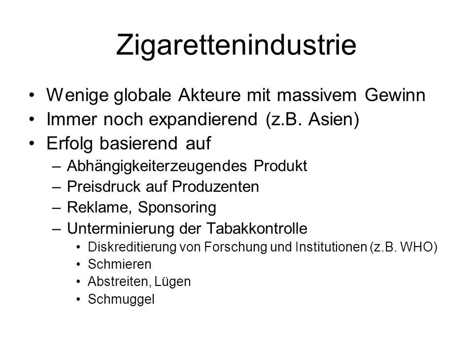 Zigarettenindustrie Wenige globale Akteure mit massivem Gewinn Immer noch expandierend (z.B. Asien) Erfolg basierend auf –Abhängigkeiterzeugendes Prod